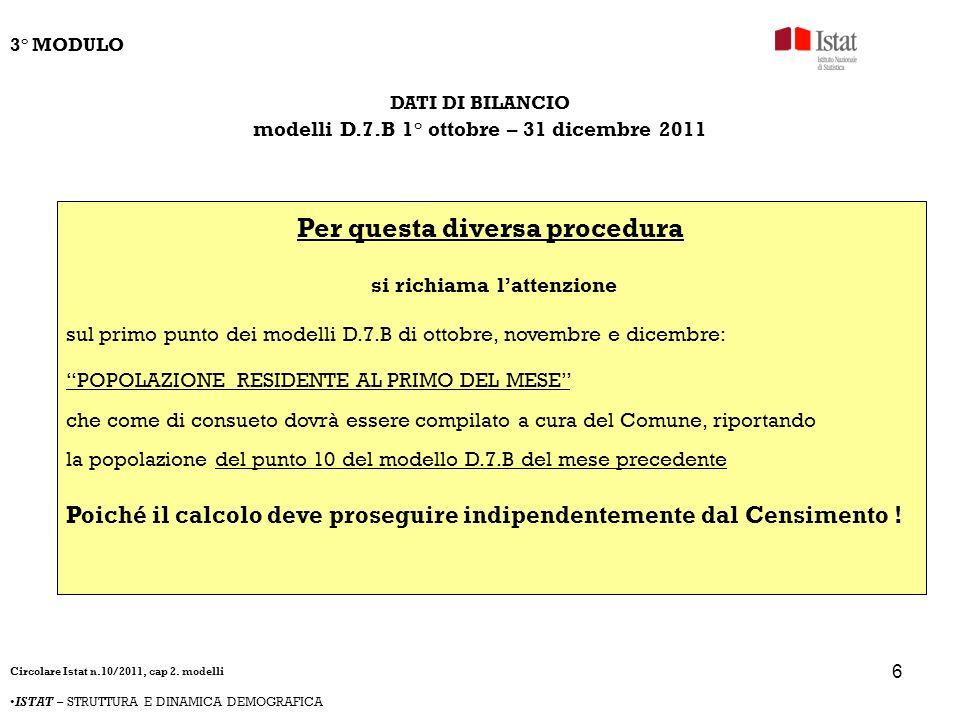 6 DATI DI BILANCIO modelli D.7.B 1° ottobre – 31 dicembre 2011 Per questa diversa procedura si richiama lattenzione sul primo punto dei modelli D.7.B