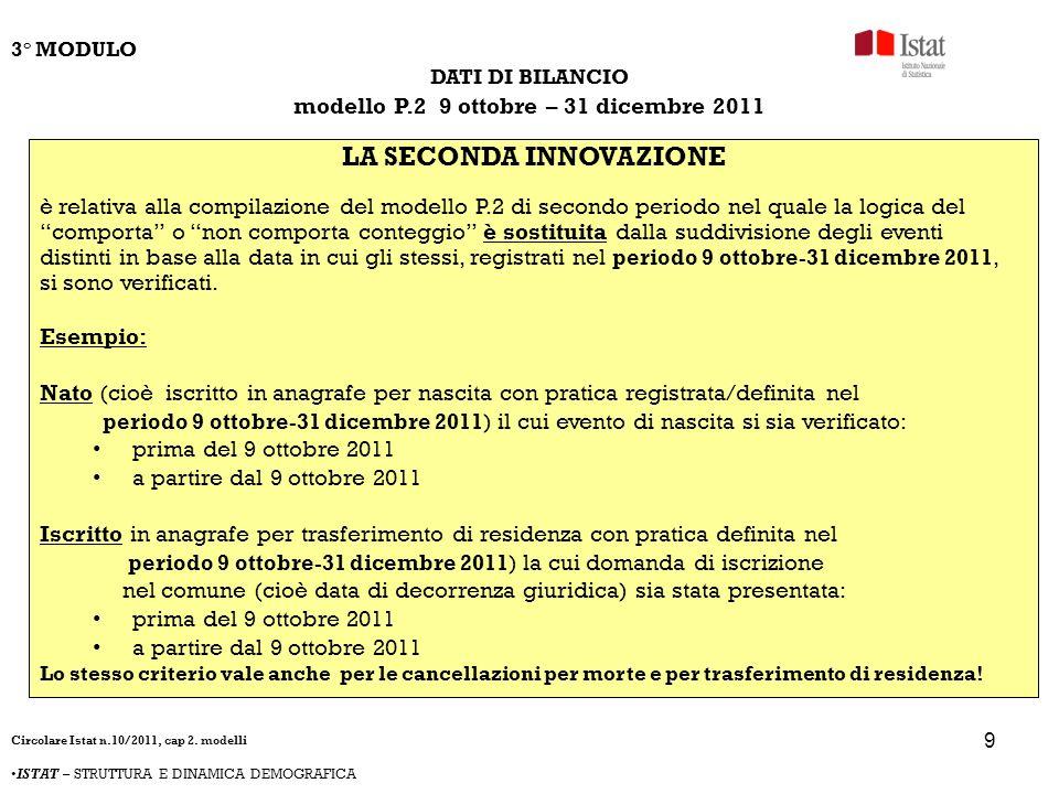 9 DATI DI BILANCIO modello P.2 9 ottobre – 31 dicembre 2011 LA SECONDA INNOVAZIONE è relativa alla compilazione del modello P.2 di secondo periodo nel