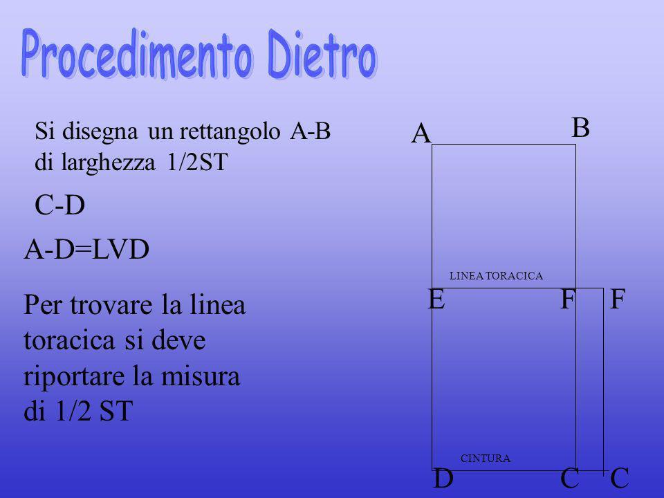 Si disegna un rettangolo A-B di larghezza 1/2ST C-D A B EF DC Per trovare la linea toracica si deve riportare la misura di 1/2 ST A-D=LVD F C LINEA TO