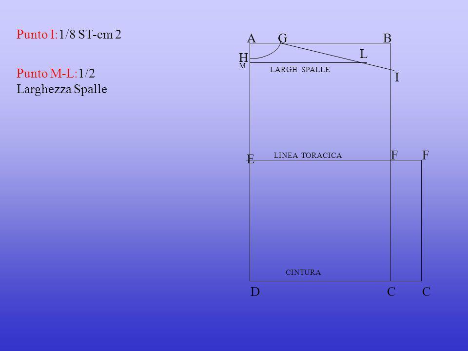Punto I:1/8 ST-cm 2 Punto M-L:1/2 Larghezza Spalle AB E LINEA TORACICA CINTURA DC FF C G H I L LARGH SPALLE M
