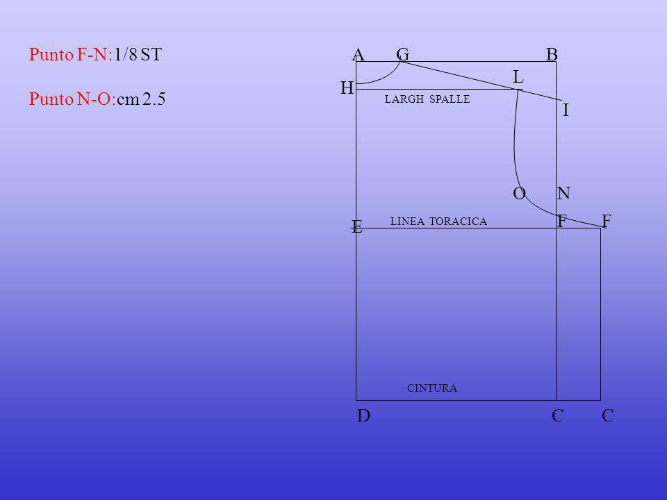 Punto N-O:cm 2.5 Punto F-N:1/8 STAB E LINEA TORACICA CINTURA DC FF C G H I L LARGH SPALLE NO