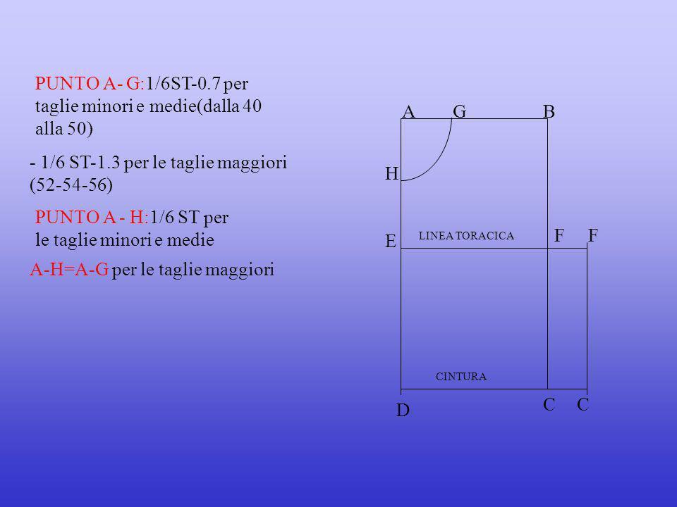 - 1/6 ST-1.3 per le taglie maggiori (52-54-56) PUNTO A - H:1/6 ST per le taglie minori e medie AB E FF D CC CINTURA LINEA TORACICA PUNTO A- G:1/6ST-0.