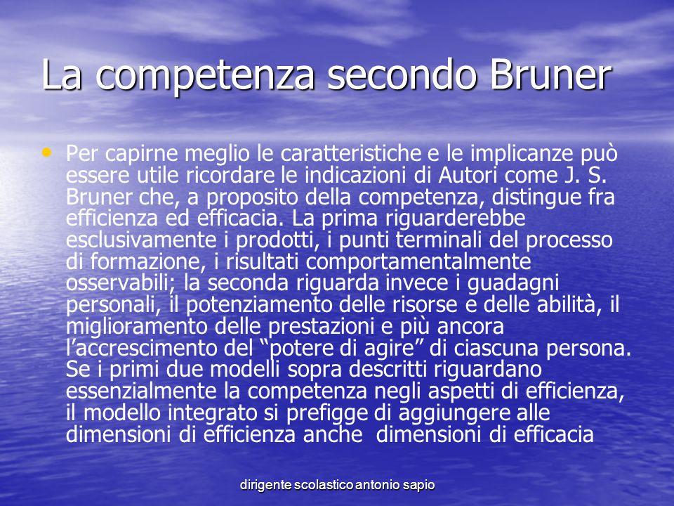 dirigente scolastico antonio sapio La competenza secondo Bruner Per capirne meglio le caratteristiche e le implicanze può essere utile ricordare le in