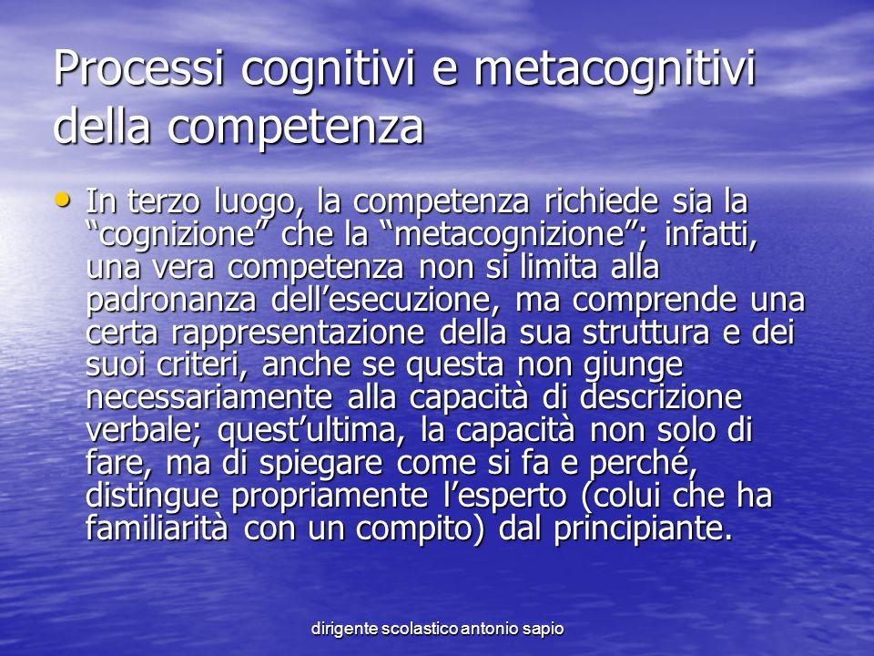 dirigente scolastico antonio sapio Processi cognitivi e metacognitivi della competenza In terzo luogo, la competenza richiede sia la cognizione che la