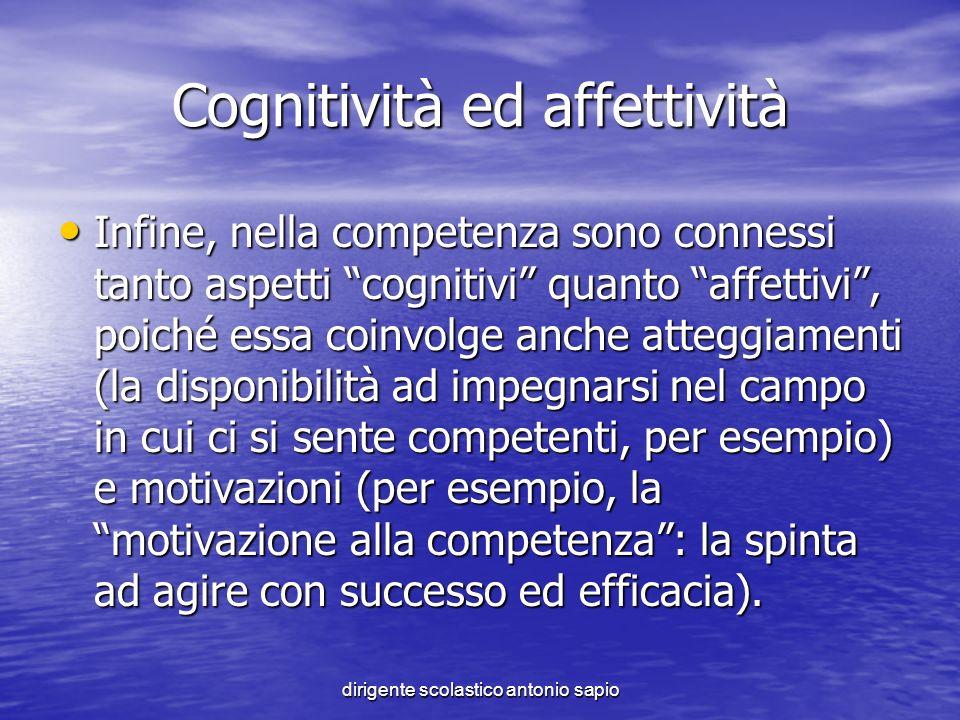 dirigente scolastico antonio sapio Cognitività ed affettività Infine, nella competenza sono connessi tanto aspetti cognitivi quanto affettivi, poiché
