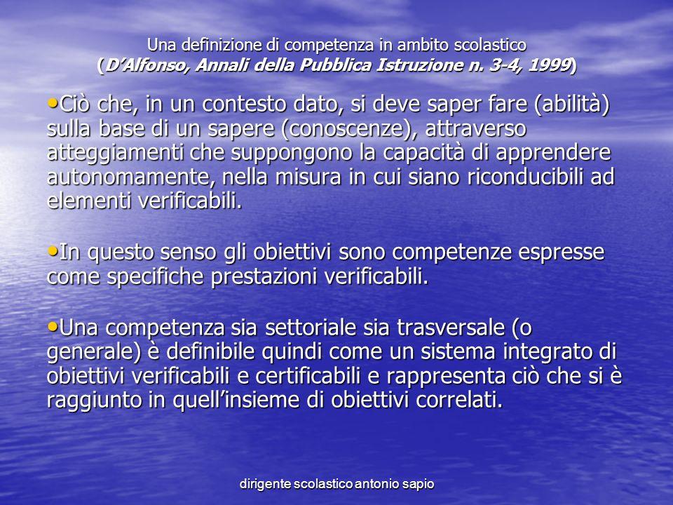 dirigente scolastico antonio sapio Una definizione di competenza in ambito scolastico (DAlfonso, Annali della Pubblica Istruzione n. 3-4, 1999) Ciò ch