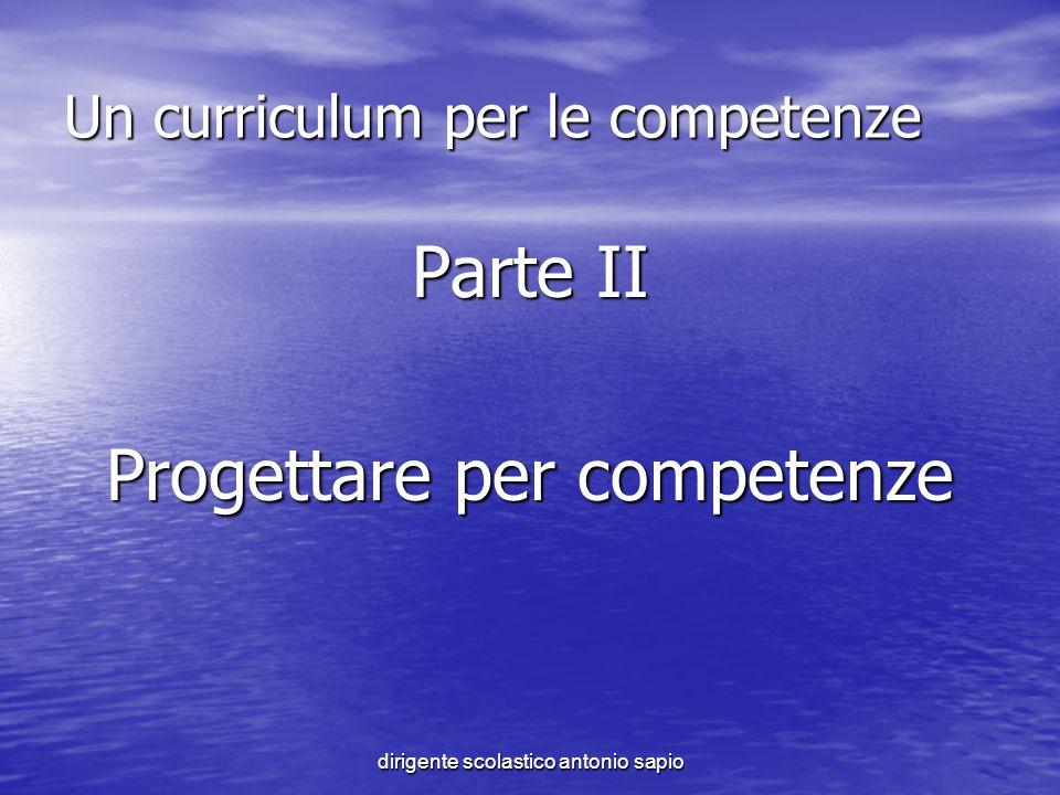 dirigente scolastico antonio sapio Un curriculum per le competenze Parte II Progettare per competenze