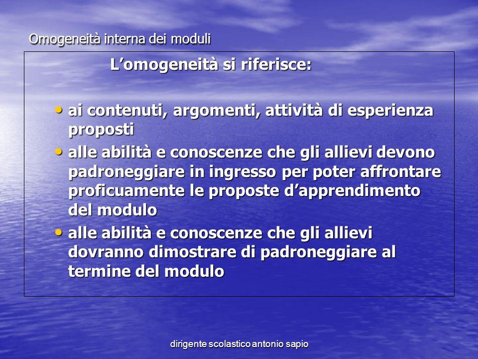 dirigente scolastico antonio sapio Omogeneità interna dei moduli Lomogeneità si riferisce: Lomogeneità si riferisce: ai contenuti, argomenti, attività
