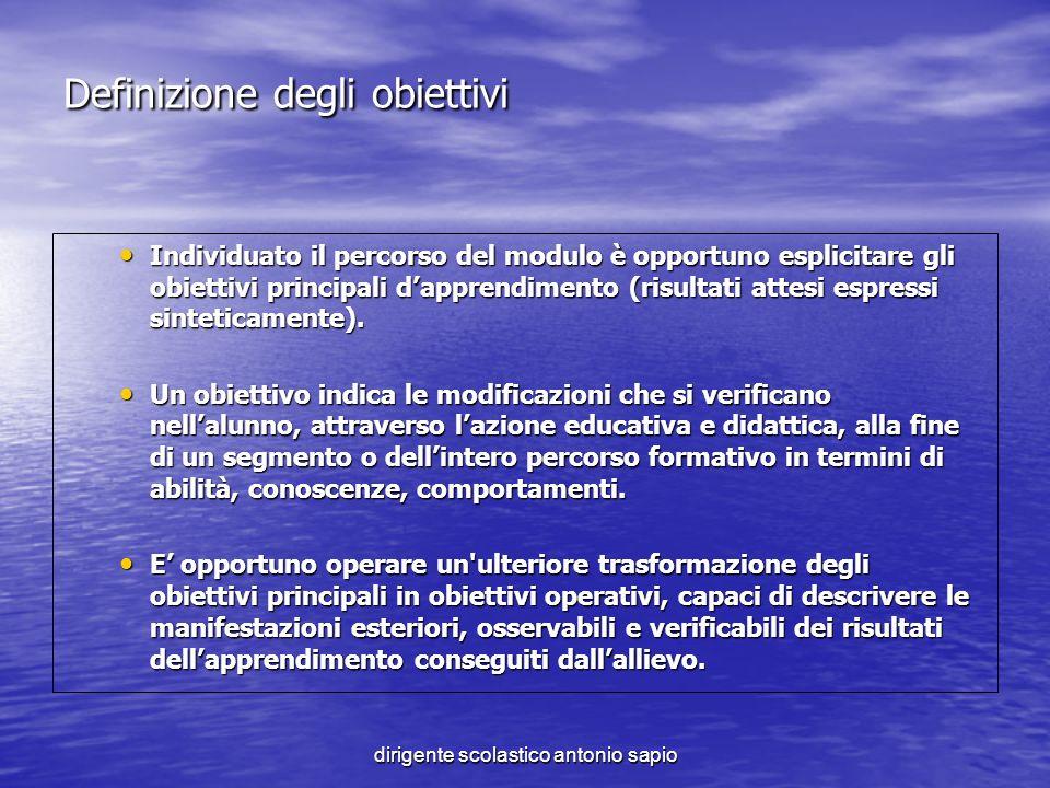 dirigente scolastico antonio sapio Definizione degli obiettivi Individuato il percorso del modulo è opportuno esplicitare gli obiettivi principali dap
