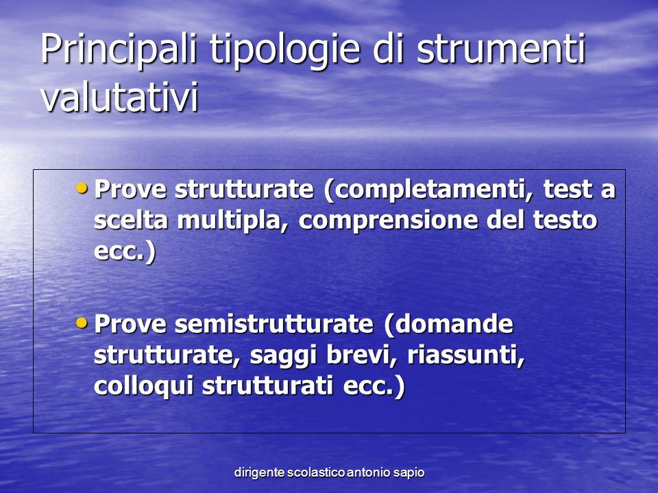 dirigente scolastico antonio sapio Principali tipologie di strumenti valutativi Prove strutturate (completamenti, test a scelta multipla, comprensione