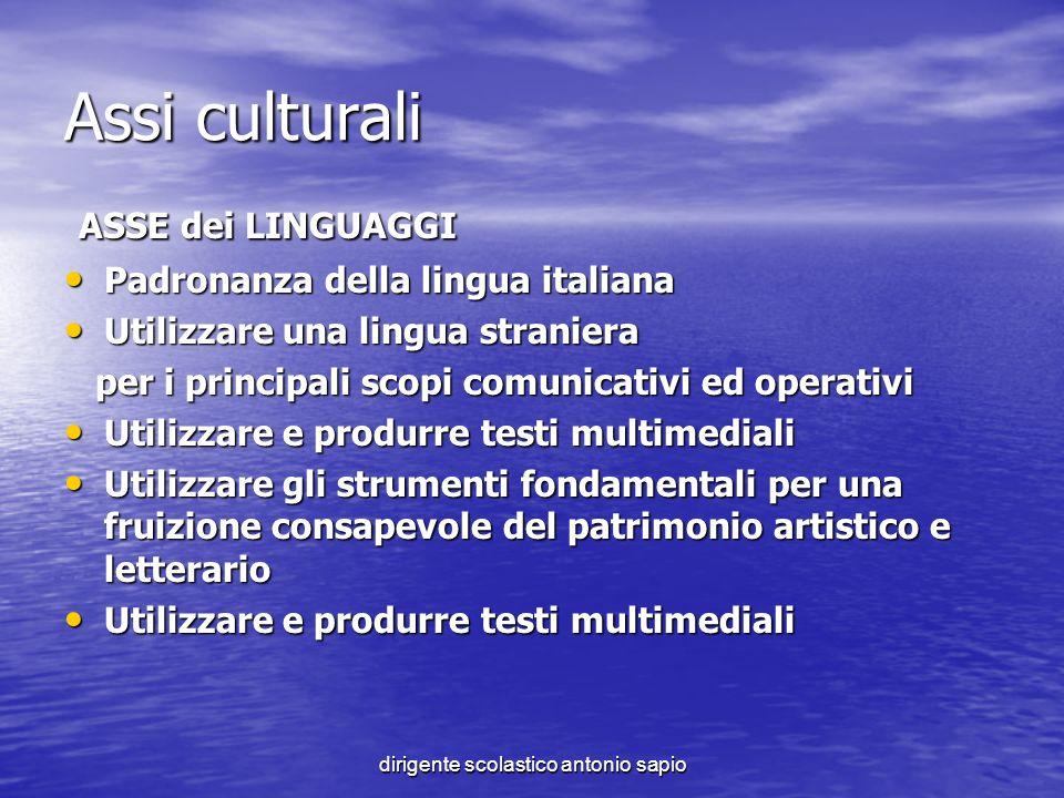 dirigente scolastico antonio sapio Assi culturali ASSE dei LINGUAGGI ASSE dei LINGUAGGI Padronanza della lingua italiana Padronanza della lingua itali