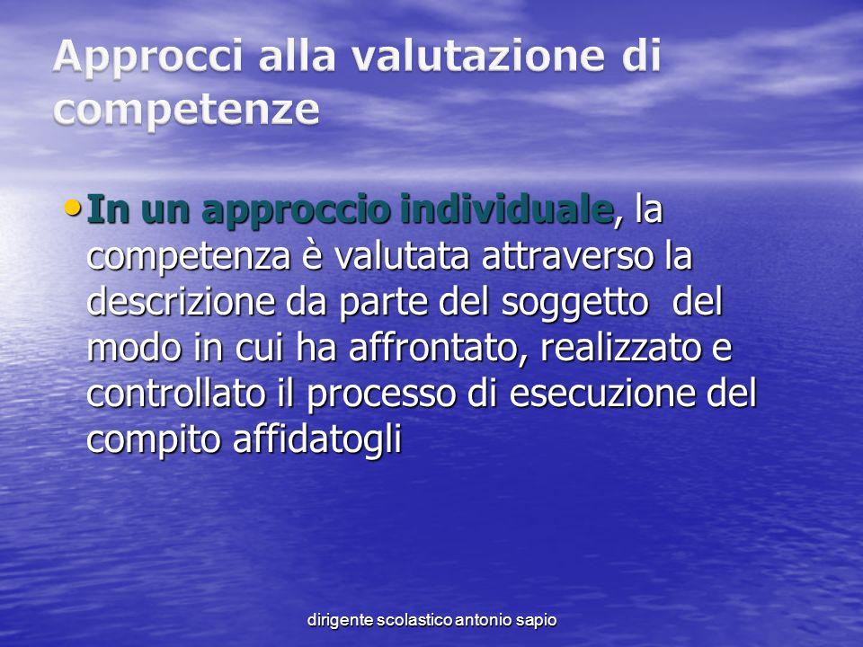 dirigente scolastico antonio sapio In un approccio individuale, la competenza è valutata attraverso la descrizione da parte del soggetto del modo in c