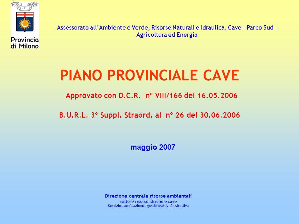 PIANO PROVINCIALE CAVE Approvato con D.C.R. n° VIII/166 del 16.05.2006 B.U.R.L. 3° Suppl. Straord. al n° 26 del 30.06.2006 Direzione centrale risorse
