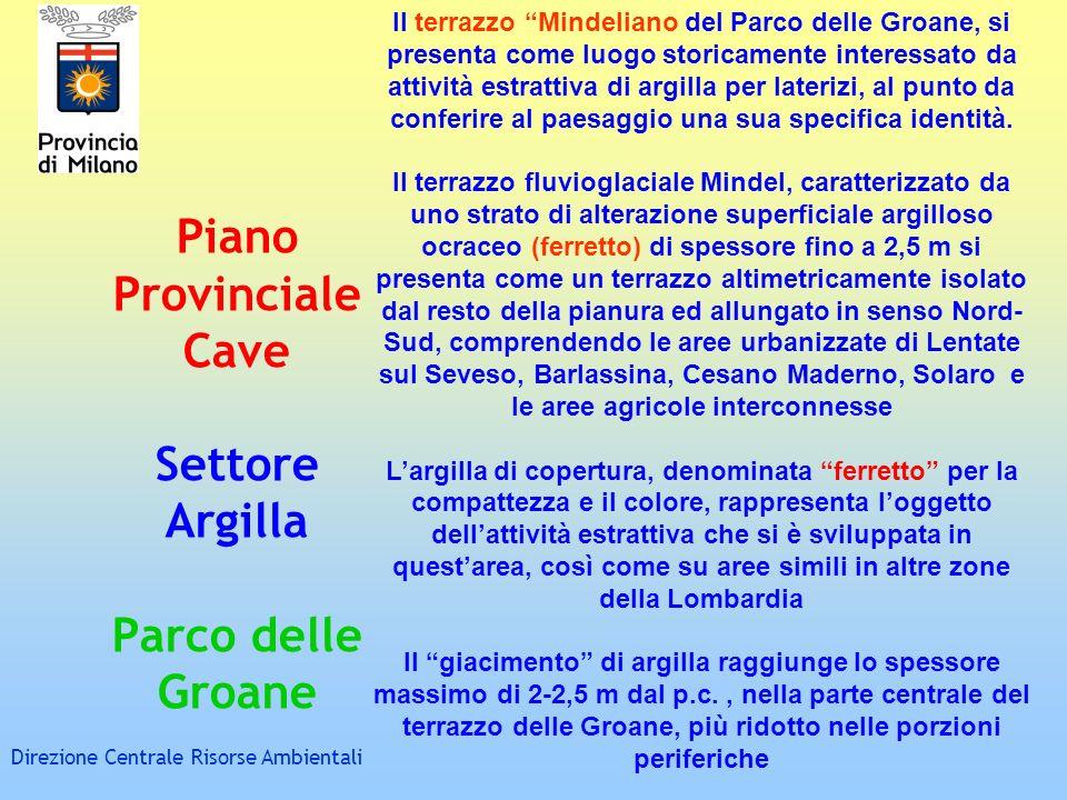 Piano Provinciale Cave Settore Argilla Parco delle Groane Direzione Centrale Risorse Ambientali Il terrazzo Mindeliano del Parco delle Groane, si pres