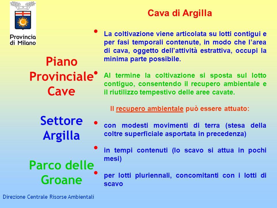 Piano Provinciale Cave Settore Argilla Parco delle Groane Direzione Centrale Risorse Ambientali Cava di Argilla La coltivazione viene articolata su lo