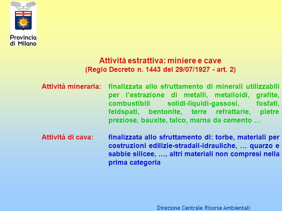 Direzione Centrale Risorse Ambientali Attività estrattiva: miniere e cave (Regio Decreto n. 1443 del 29/07/1927 - art. 2) Attività mineraria: finalizz