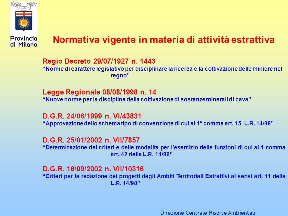 Direzione Centrale Risorse Ambientali Normativa vigente in materia di attività estrattiva Regio Decreto 29/07/1927 n. 1443 Norme di carattere legislat