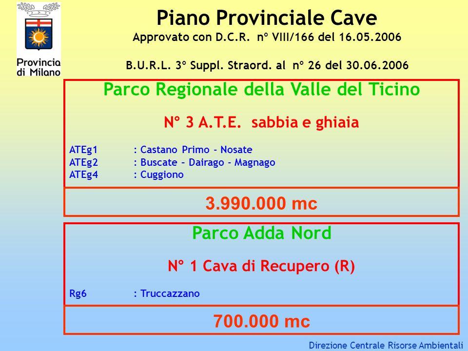 Piano Provinciale Cave Approvato con D.C.R. n° VIII/166 del 16.05.2006 B.U.R.L. 3° Suppl. Straord. al n° 26 del 30.06.2006 Parco Regionale della Valle