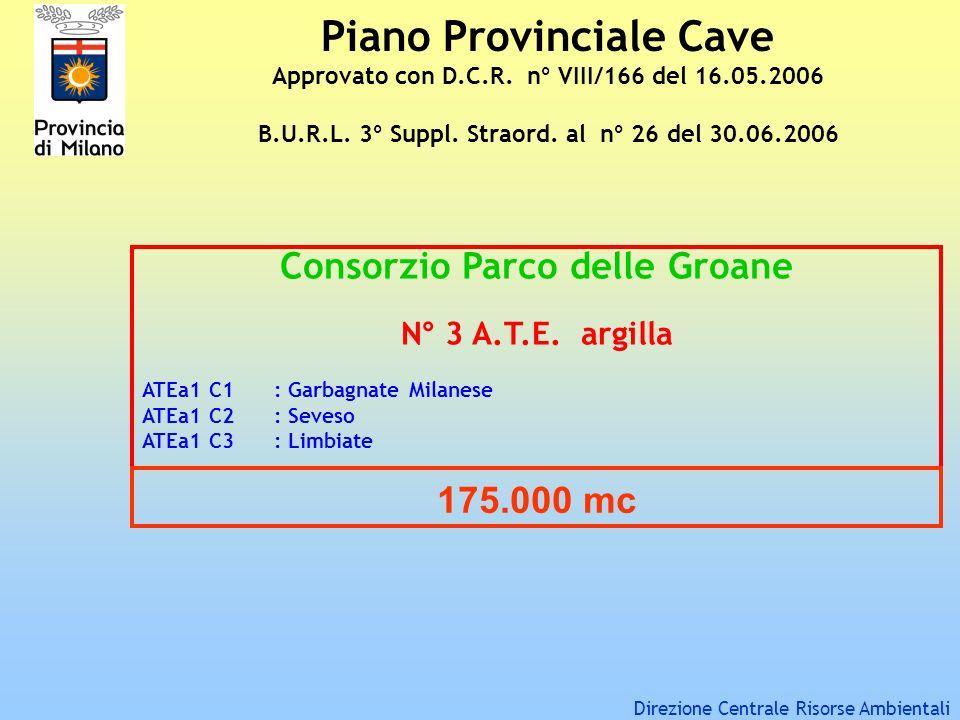 Piano Provinciale Cave Approvato con D.C.R. n° VIII/166 del 16.05.2006 B.U.R.L. 3° Suppl. Straord. al n° 26 del 30.06.2006 Consorzio Parco delle Groan
