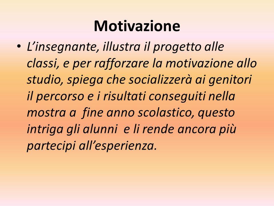 Motivazione Linsegnante, illustra il progetto alle classi, e per rafforzare la motivazione allo studio, spiega che socializzerà ai genitori il percors