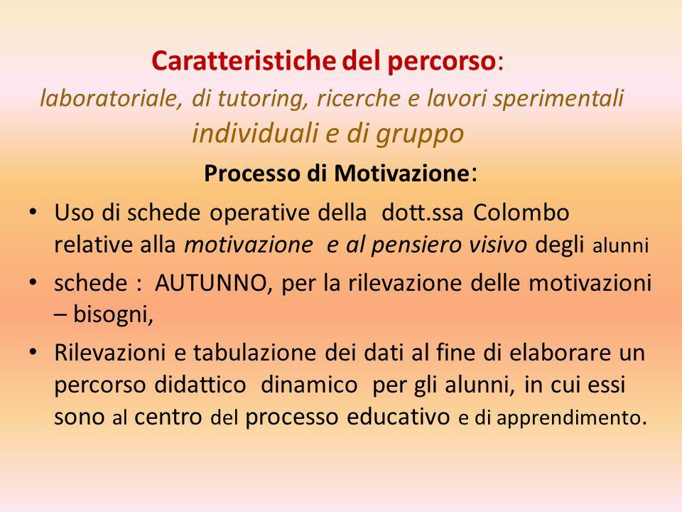 Caratteristiche del percorso: laboratoriale, di tutoring, ricerche e lavori sperimentali individuali e di gruppo Processo di Motivazione : Uso di sche