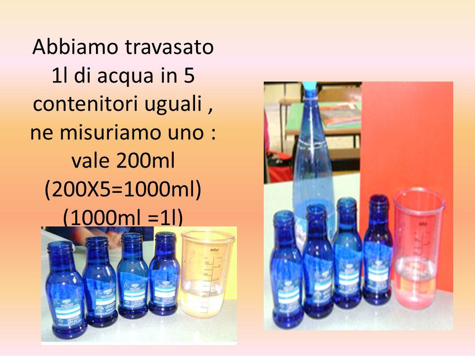 Abbiamo travasato 1l di acqua in 5 contenitori uguali, ne misuriamo uno : vale 200ml (200X5=1000ml) (1000ml =1l)