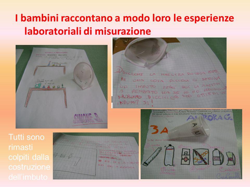 I bambini raccontano a modo loro le esperienze laboratoriali di misurazione Tutti sono rimasti colpiti dalla costruzione dellimbuto