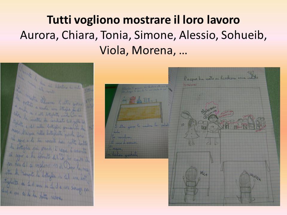 Tutti vogliono mostrare il loro lavoro Aurora, Chiara, Tonia, Simone, Alessio, Sohueib, Viola, Morena, …