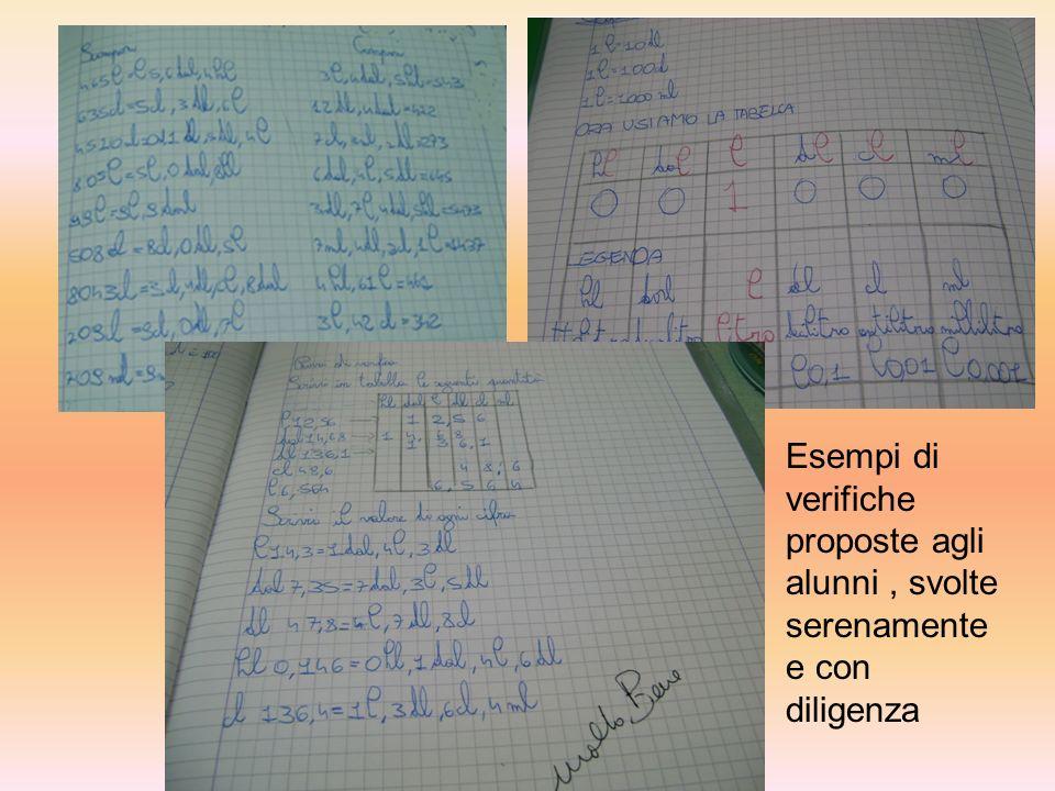 Esempi di verifiche proposte agli alunni, svolte serenamente e con diligenza