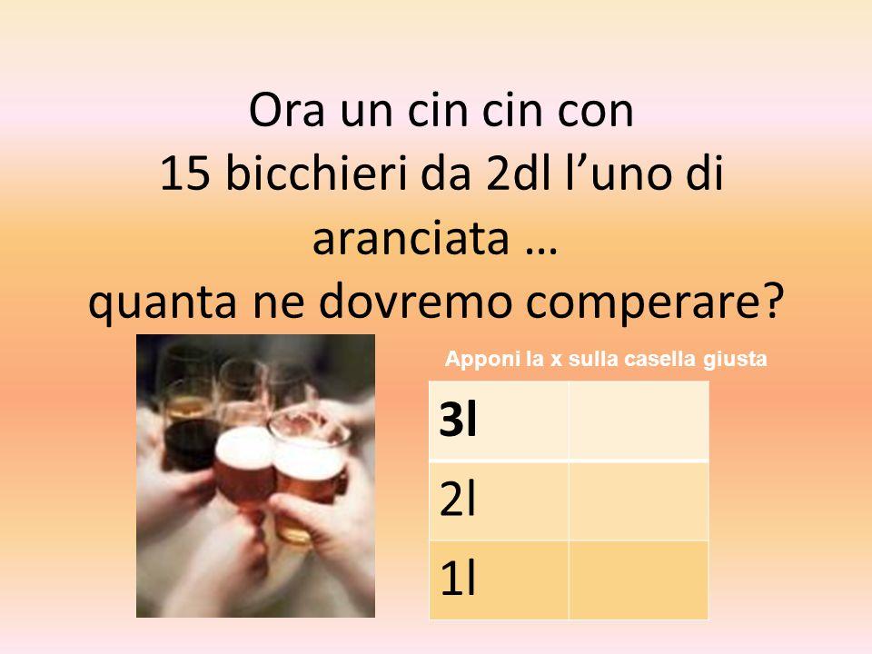 Ora un cin cin con 15 bicchieri da 2dl luno di aranciata … quanta ne dovremo comperare? Apponi la x sulla casella giusta 3l 2l 1l