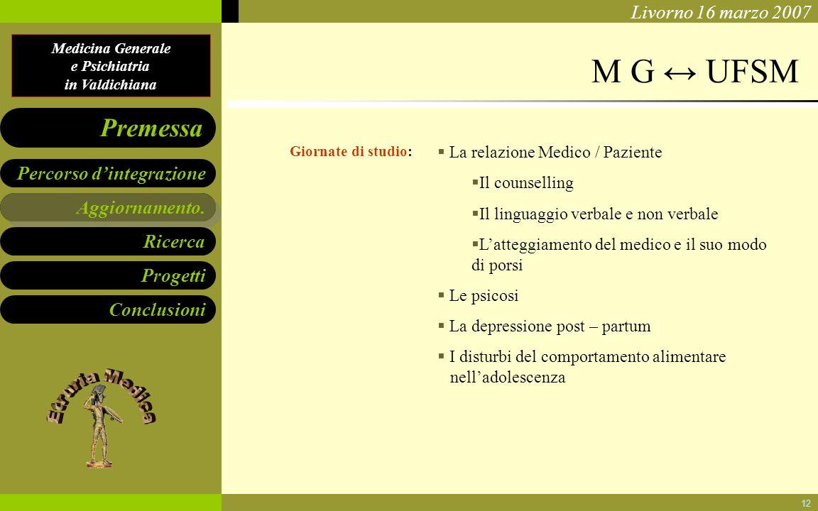 Medicina Generale e Psichiatria in Valdichiana Aggiornamento. Ricerca Progetti Conclusioni Percorso dintegrazione Premessa Livorno 16 marzo 2007 12 Ag