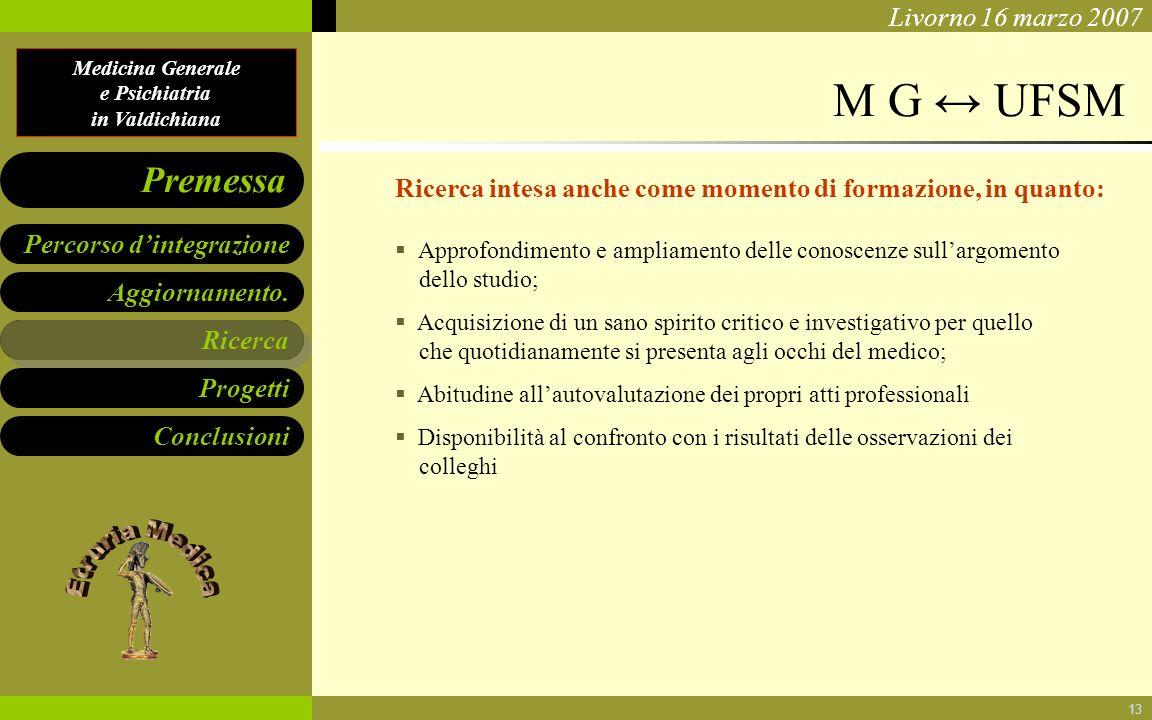 Medicina Generale e Psichiatria in Valdichiana Aggiornamento. Ricerca Progetti Conclusioni Percorso dintegrazione Premessa Livorno 16 marzo 2007 13 M