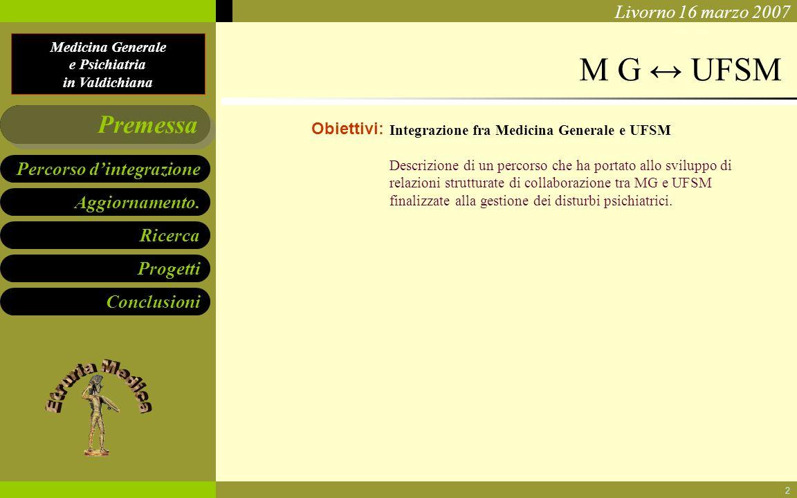 Medicina Generale e Psichiatria in Valdichiana Aggiornamento. Ricerca Progetti Conclusioni Percorso dintegrazione Premessa Livorno 16 marzo 2007 2 M G