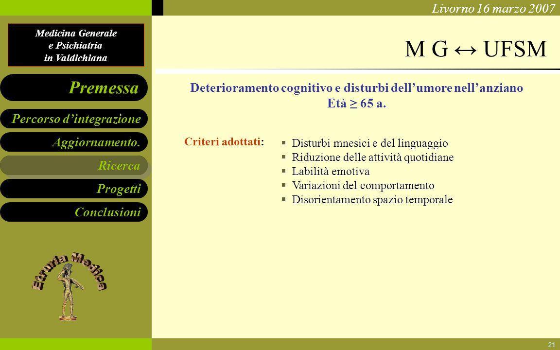 Medicina Generale e Psichiatria in Valdichiana Aggiornamento. Ricerca Progetti Conclusioni Percorso dintegrazione Premessa Livorno 16 marzo 2007 21 M