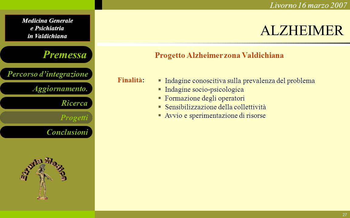 Medicina Generale e Psichiatria in Valdichiana Aggiornamento. Ricerca Progetti Conclusioni Percorso dintegrazione Premessa Livorno 16 marzo 2007 27 AL