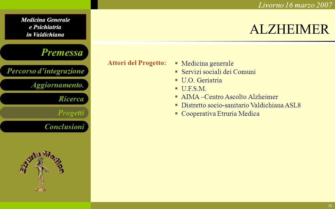 Medicina Generale e Psichiatria in Valdichiana Aggiornamento. Ricerca Progetti Conclusioni Percorso dintegrazione Premessa Livorno 16 marzo 2007 30 AL