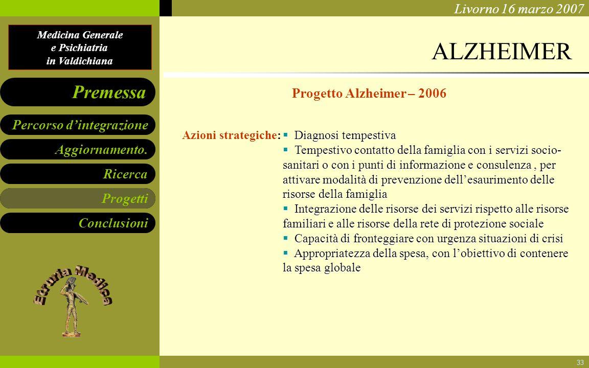 Medicina Generale e Psichiatria in Valdichiana Aggiornamento. Ricerca Progetti Conclusioni Percorso dintegrazione Premessa Livorno 16 marzo 2007 33 AL
