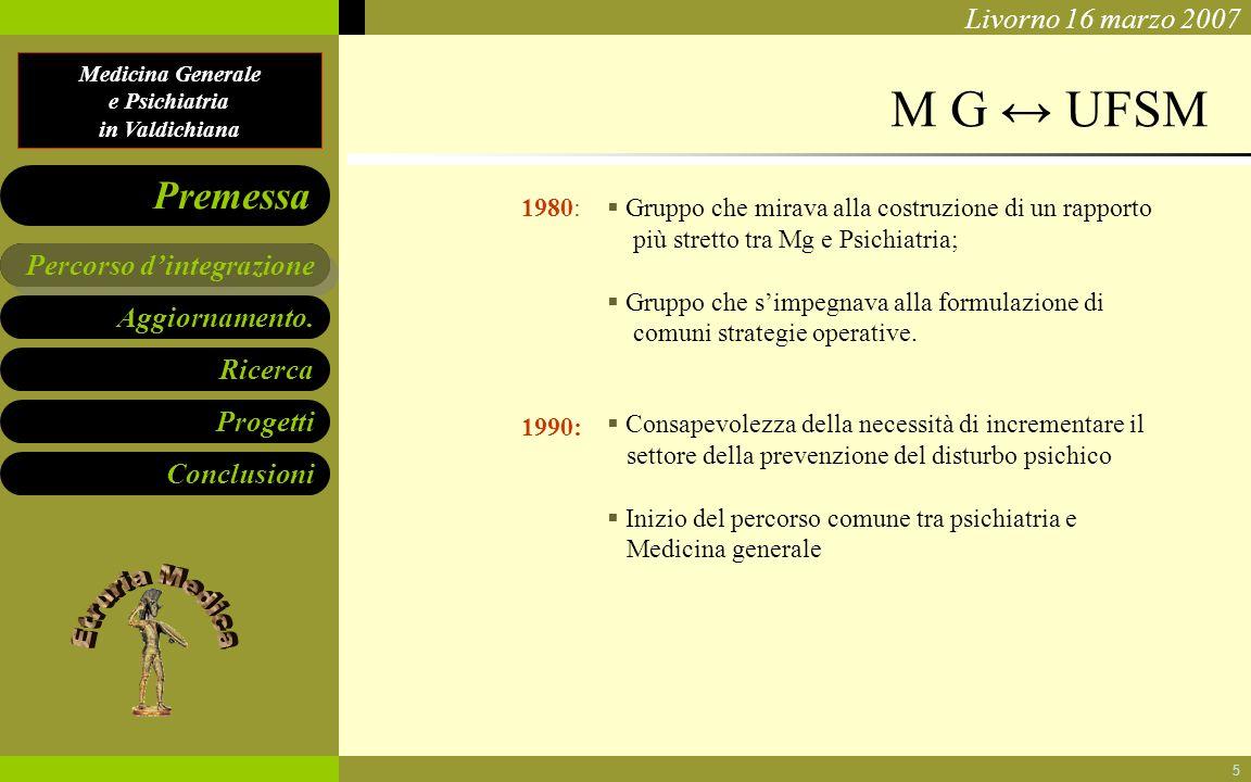 Medicina Generale e Psichiatria in Valdichiana Aggiornamento. Ricerca Progetti Conclusioni Percorso dintegrazione Premessa Livorno 16 marzo 2007 5 M G