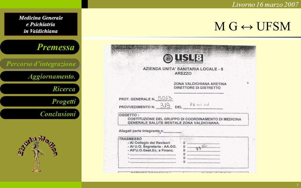 Medicina Generale e Psichiatria in Valdichiana Aggiornamento. Ricerca Progetti Conclusioni Percorso dintegrazione Premessa Livorno 16 marzo 2007 7 M G