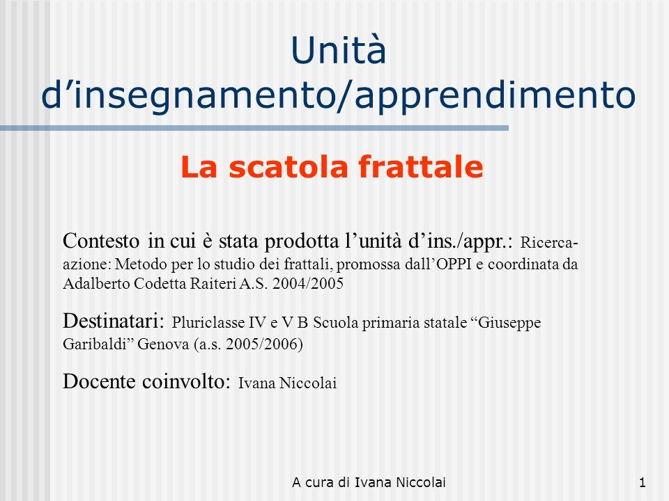 A cura di Ivana Niccolai1 Unità dinsegnamento/apprendimento Contesto in cui è stata prodotta lunità dins./appr.: Ricerca- azione: Metodo per lo studio