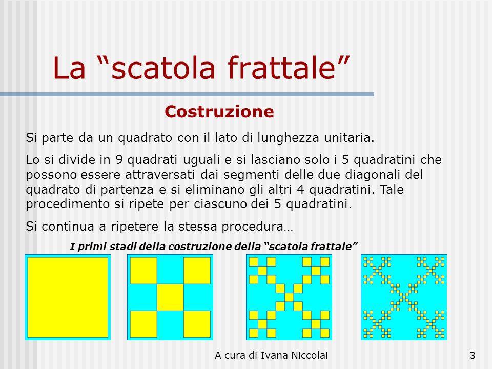 A cura di Ivana Niccolai3 La scatola frattale Costruzione Si parte da un quadrato con il lato di lunghezza unitaria. Lo si divide in 9 quadrati uguali