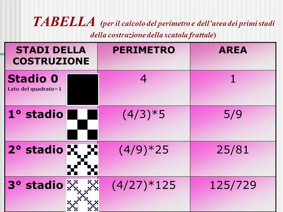 A cura di Ivana Niccolai6 TABELLA (per il calcolo del perimetro e dellarea dei primi stadi della costruzione della scatola frattale) STADI DELLA COSTR