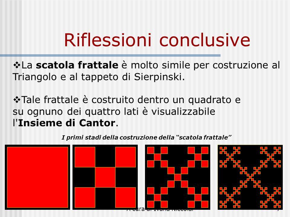 A cura di Ivana Niccolai7 Riflessioni conclusive La scatola frattale è molto simile per costruzione al Triangolo e al tappeto di Sierpinski. Tale frat