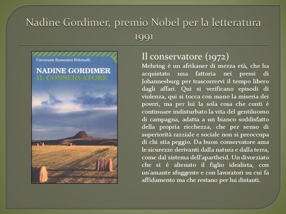 Il conservatore (1972) Mehring è un afrikaner di mezza età, che ha acquistato una fattoria nei pressi di Johannesburg per trascorrervi il tempo libero