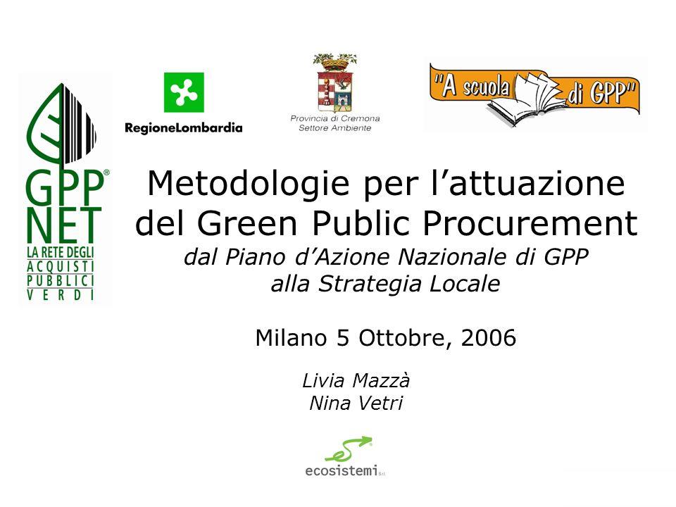 Metodologie per lattuazione del Green Public Procurement dal Piano dAzione Nazionale di GPP alla Strategia Locale Milano 5 Ottobre, 2006 Livia Mazzà Nina Vetri