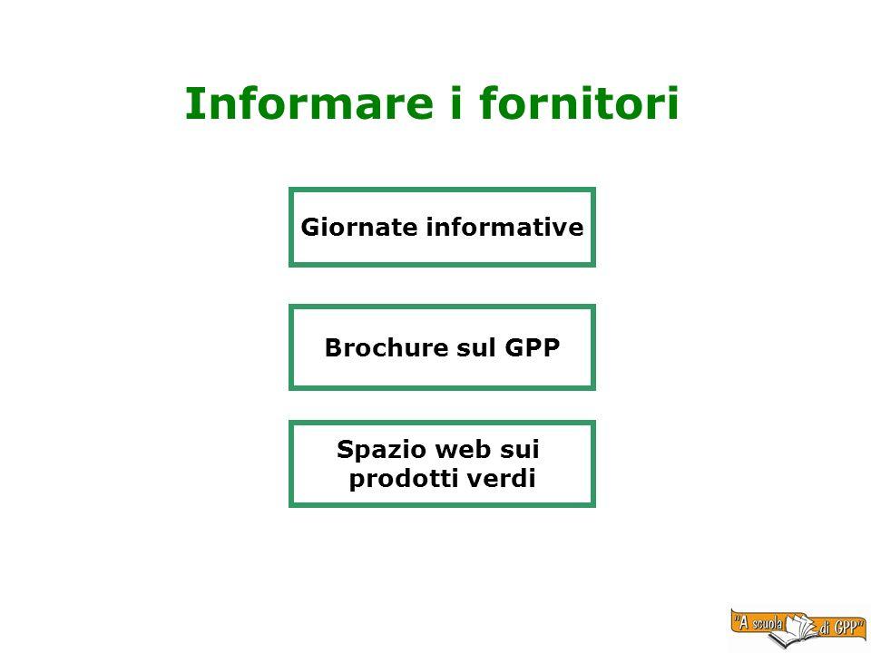Informare i fornitori Giornate informative Brochure sul GPP Spazio web sui prodotti verdi