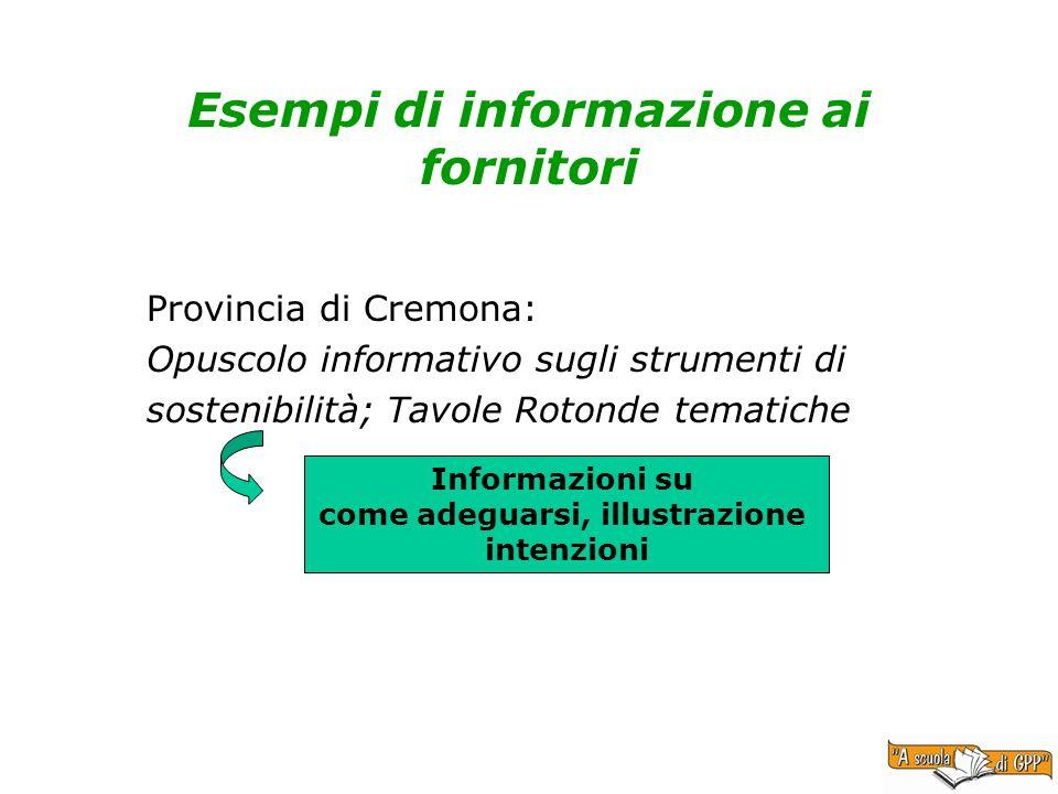 Esempi di informazione ai fornitori Provincia di Cremona: Opuscolo informativo sugli strumenti di sostenibilità; Tavole Rotonde tematiche Informazioni su come adeguarsi, illustrazione intenzioni