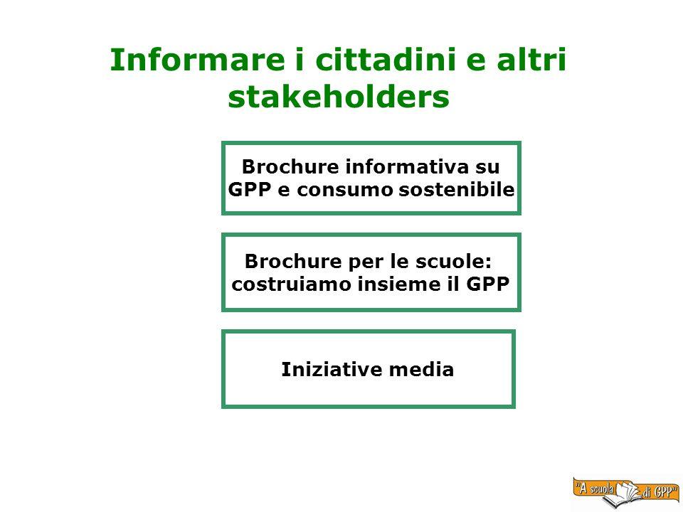 Informare i cittadini e altri stakeholders Brochure informativa su GPP e consumo sostenibile Brochure per le scuole: costruiamo insieme il GPP Iniziative media