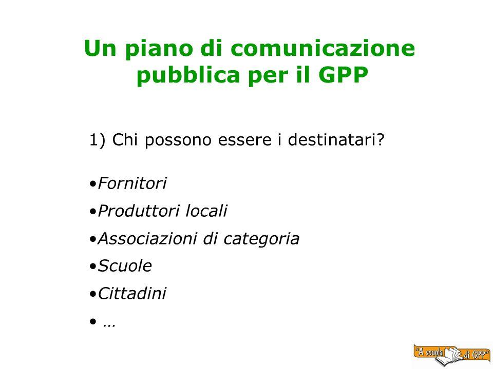 Un piano di comunicazione pubblica per il GPP 1) Chi possono essere i destinatari? Fornitori Produttori locali Associazioni di categoria Scuole Cittad