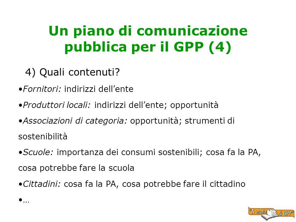 4) Quali contenuti? Un piano di comunicazione pubblica per il GPP (4) Fornitori: indirizzi dellente Produttori locali: indirizzi dellente; opportunità